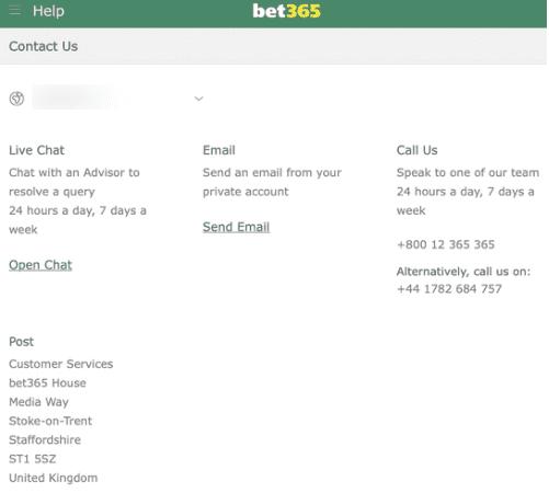 bet365 customer support info