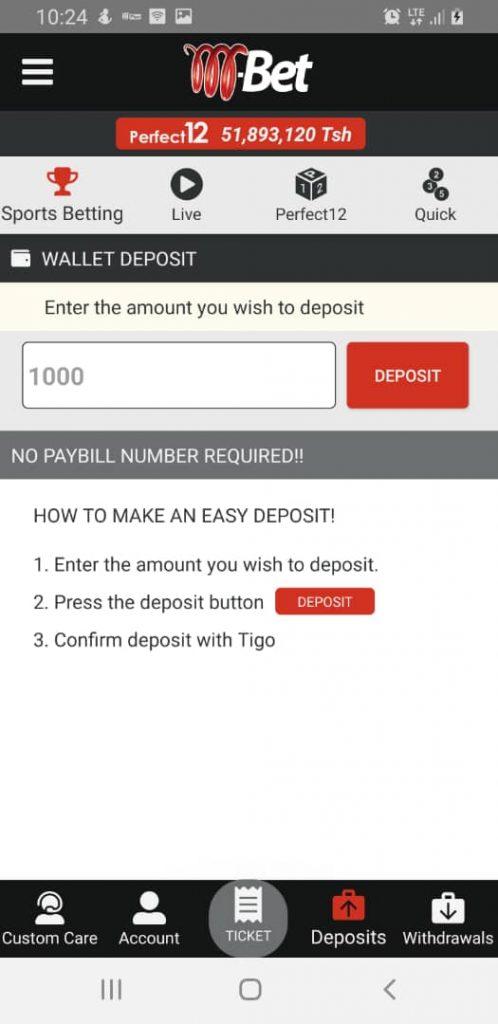 M-bet deposit info