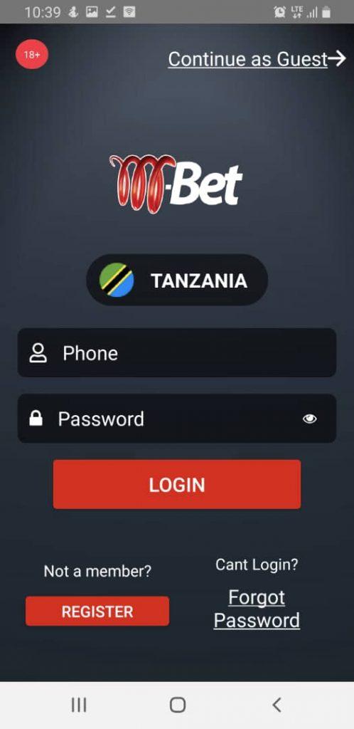 M-bet login screen